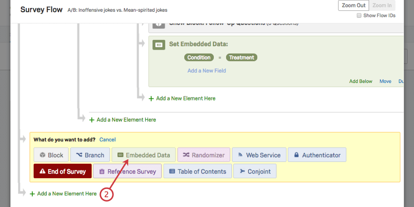 Click green add a new element button to select green embedded data element on a yellow background