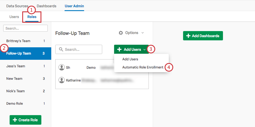 Going to the roles and selecting the green Add Users button in the side of the center menu