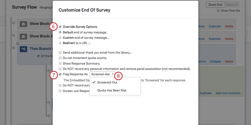 Selecting options in the endof survey