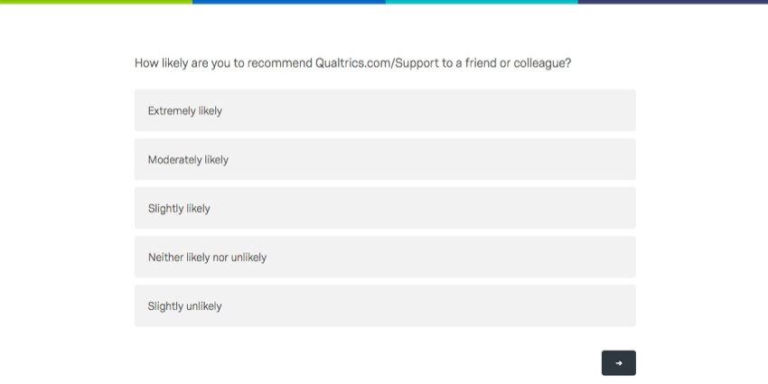 A survey asking how likely you are to recommend the support site to a friend