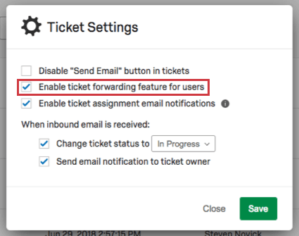 Enable ticket forwarding feature for users