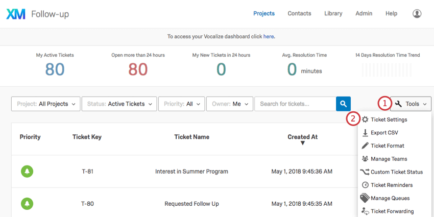 Opening tools on the ticket page