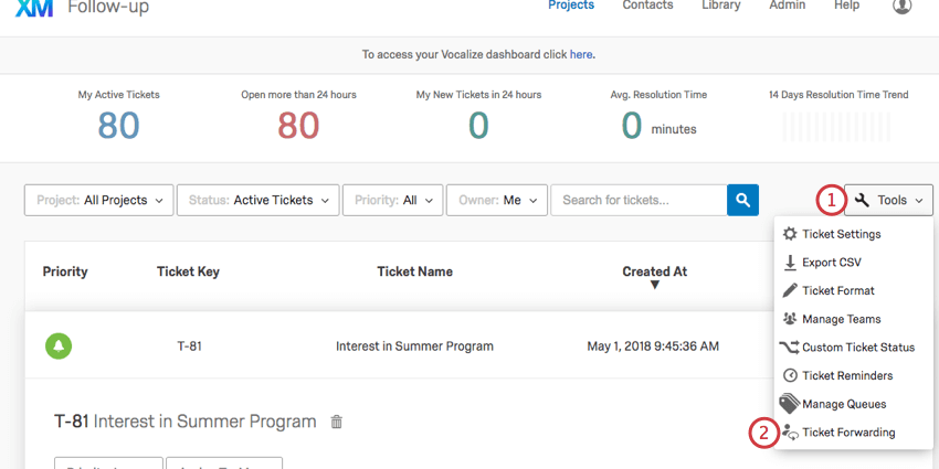 Opening tools on the ticket follow up page