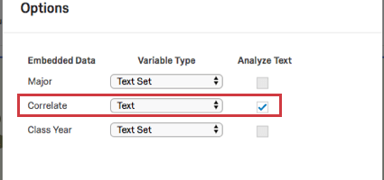 Selecting the check box next to the Text variable type dropdown