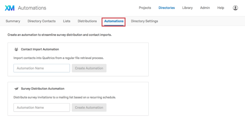 Tab that says Automations between Distributions and Directory Settings