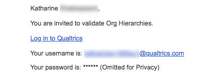 Email inviting to validate hierarchies. Links, email, and username listed