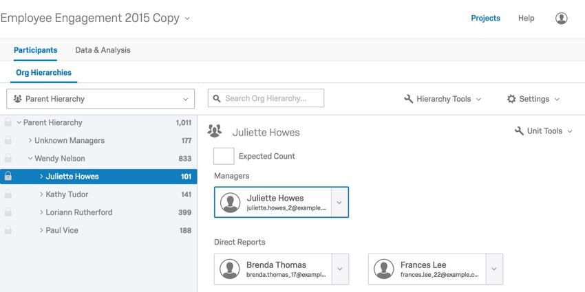 Hierarchy editing tab