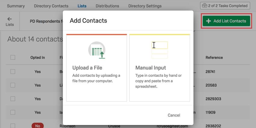 Add list options