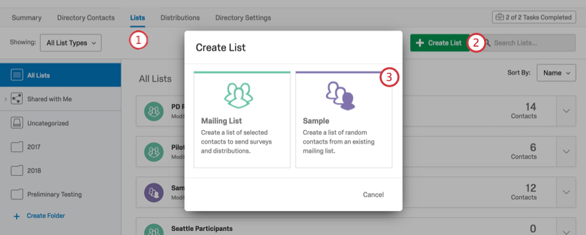 Creating a sample