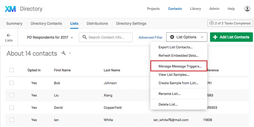 Manage Message Triggers option