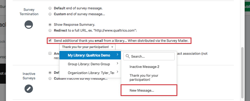 Send an additional thank you email from library option