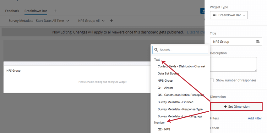Set Dimension dropdown in righthand editing pane