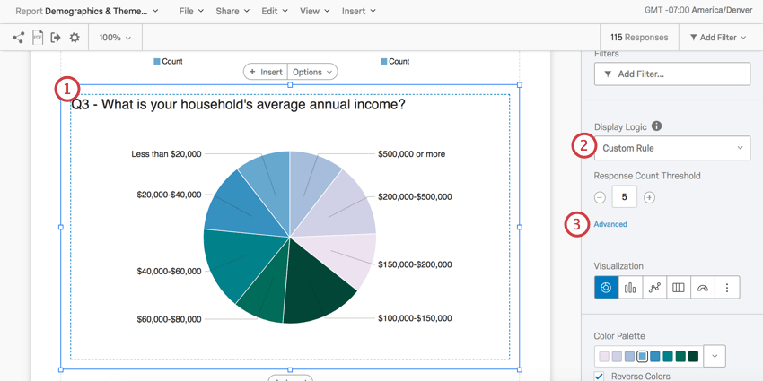 Pie Chart is selected and in the editing pane to the right are the options described