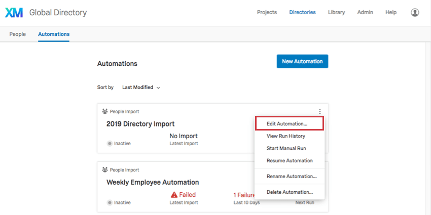 Three dots dropdown on automation on main page has Edit automation option first