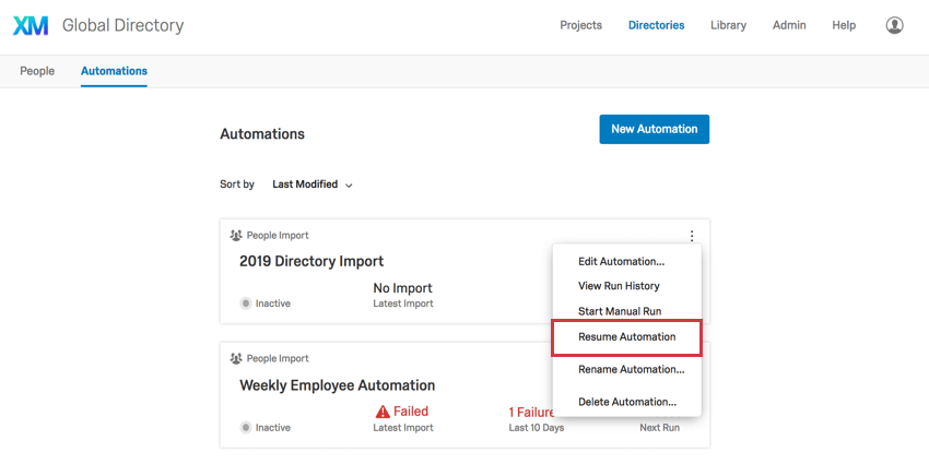 Resume automation under the three dots