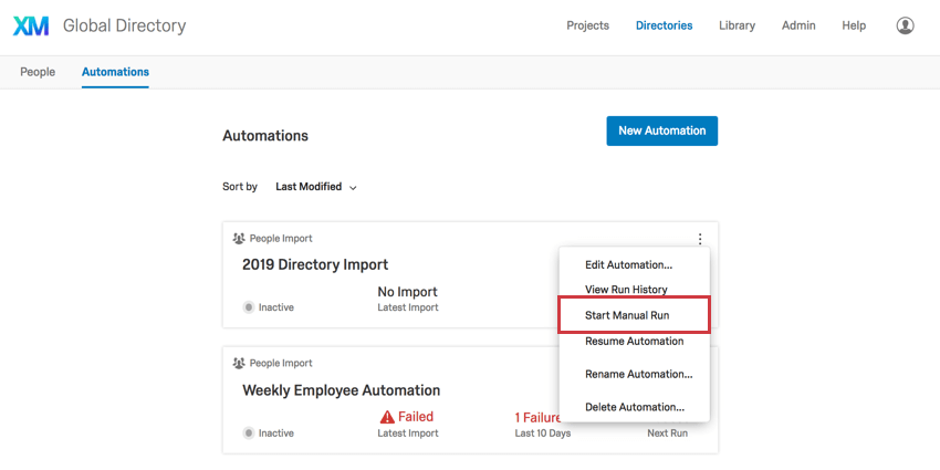 Three dots reveal Start Manual Run option on Automations homepage