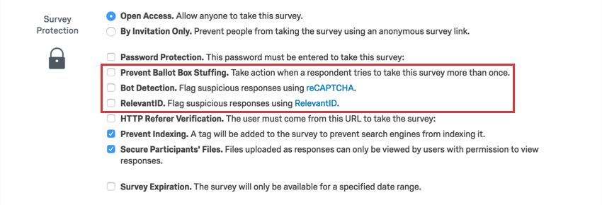 Survey Protection section with the options to be listed