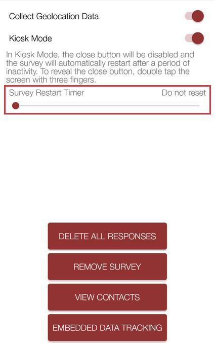 Survey Restart Timer hides other button hide options and is a slider