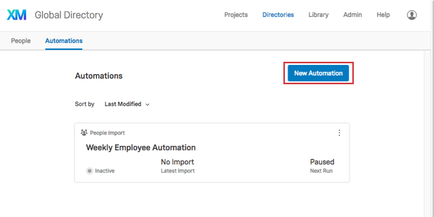 New Automation button in blue on upper-right