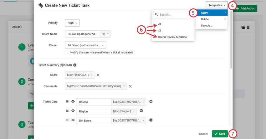 Applying templates from the upper-right dropdown