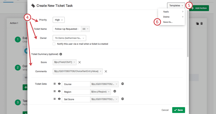 On a ticket task, selecting templates in upper-rightmost corner