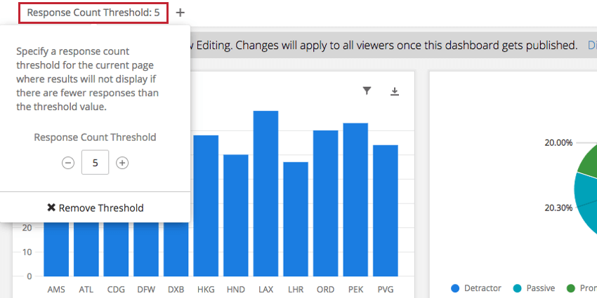 Response Count Threshold option underneath page names
