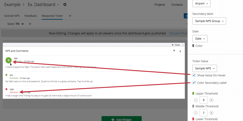 Show Value on Hover and Color Secondary Label checkboxes