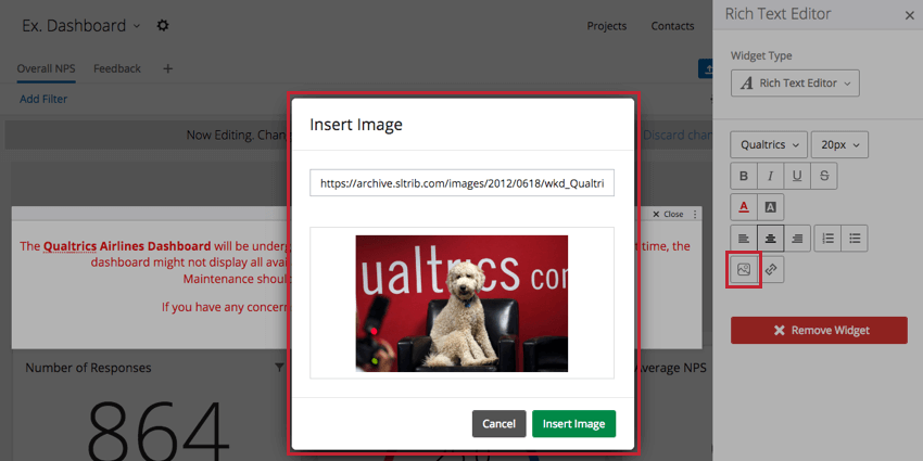 Insert image button and menu in righthand editing pane