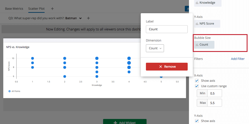 Label and Dimension options in Bubble Size menu