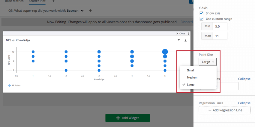 Point Size dropdown in righthand editing pane