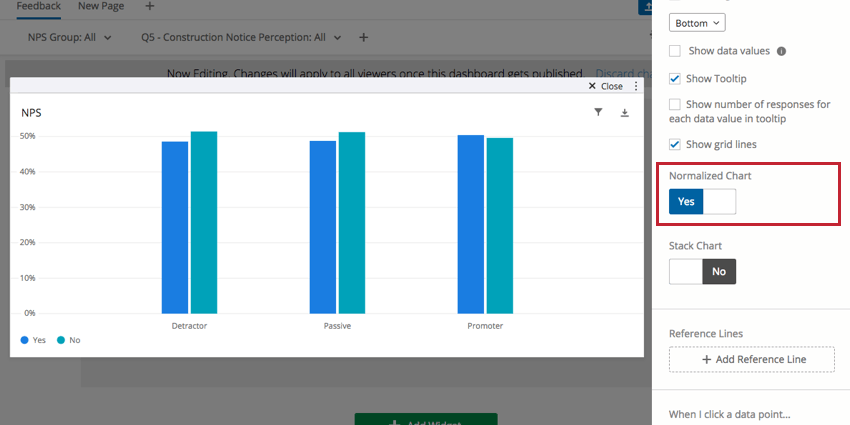 Normalized Chart switch in righthand editing pane