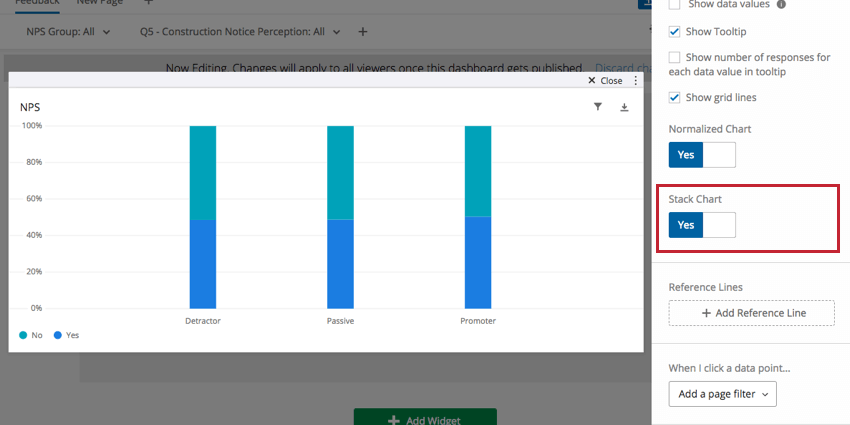 Stack Chart switch in righthand editing pane