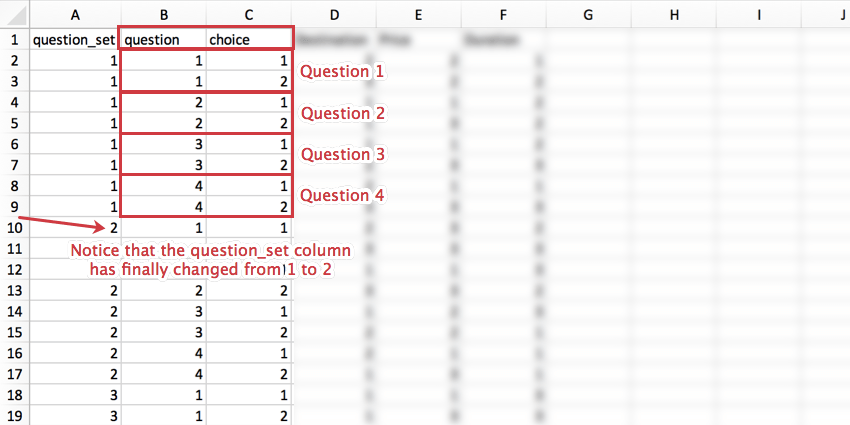A CSV with the changing rows and ow they correspond to choices highlighted in red