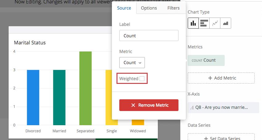 Weighted checkbox under Source tab in widget editing pane