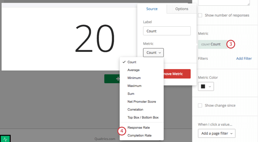 Editing the count in the widget editing pane to the right
