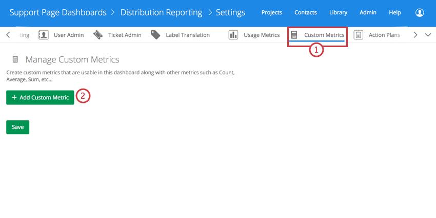 Entering the custom metrics section