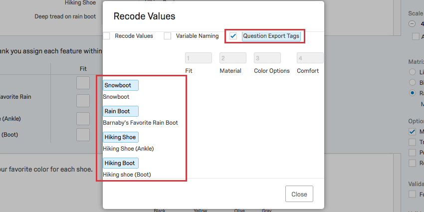 In blue on top, question export tags is selected. along the rows to the left, new labels are written in the blue fields that have appeared