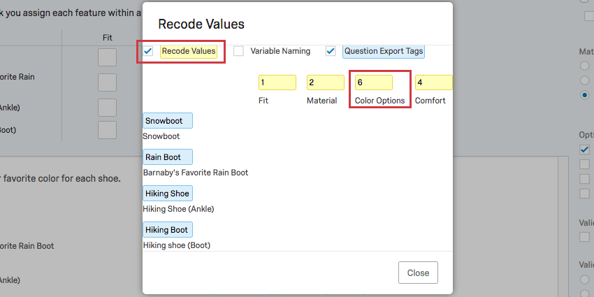 Same as the first export tags image, but now the recode values are selected and in yellow, the 3 has been changed to 6