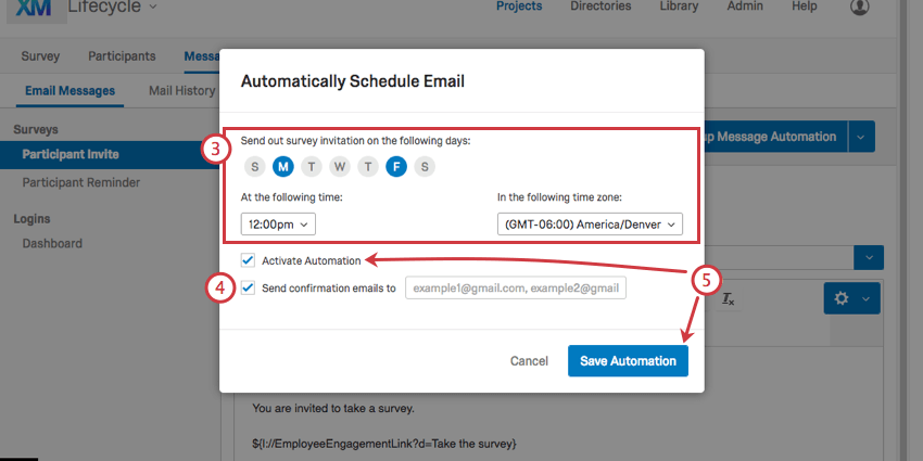 Menu for scheduling emails