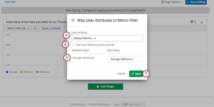 Map User Attributes menu