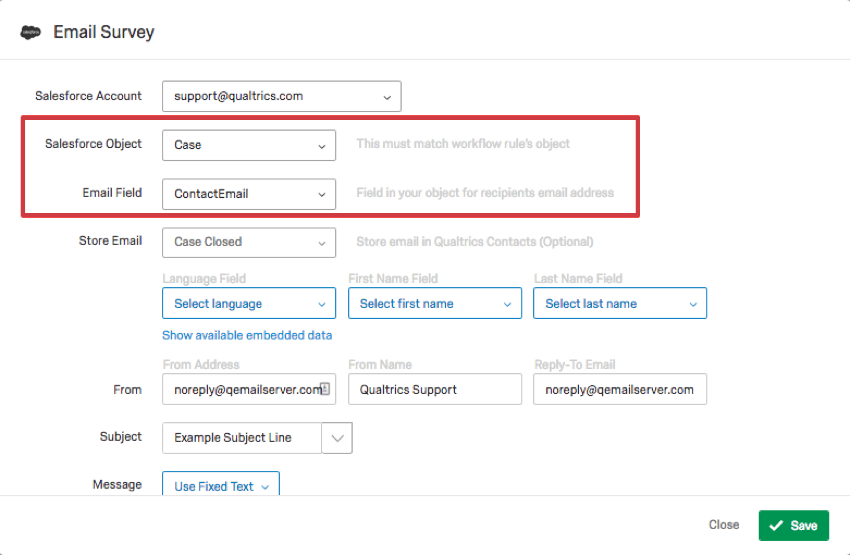 Salesforce Object and Email field in Trigger and Email Survey menu