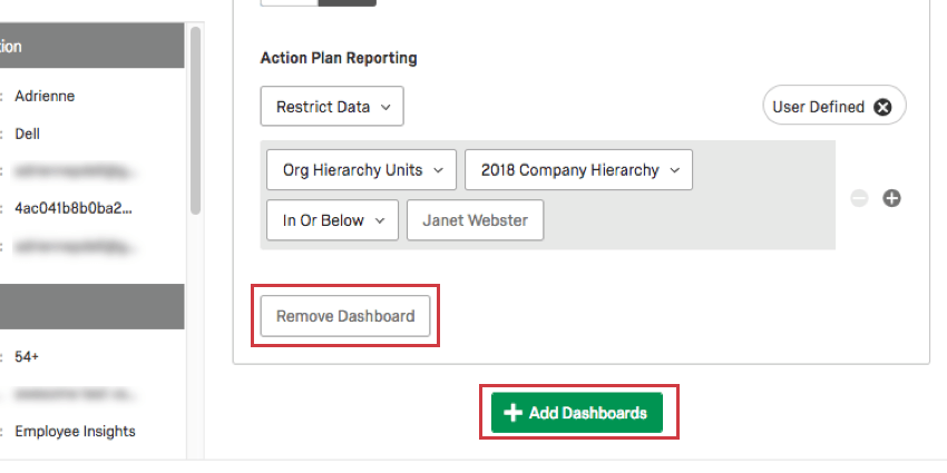 The Remove Dashboard button to the bottom-left of the dashboards permissions, and the Add Dashboards button in the bottom-center.