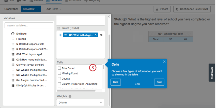 Cells has a series of checkboxes with options