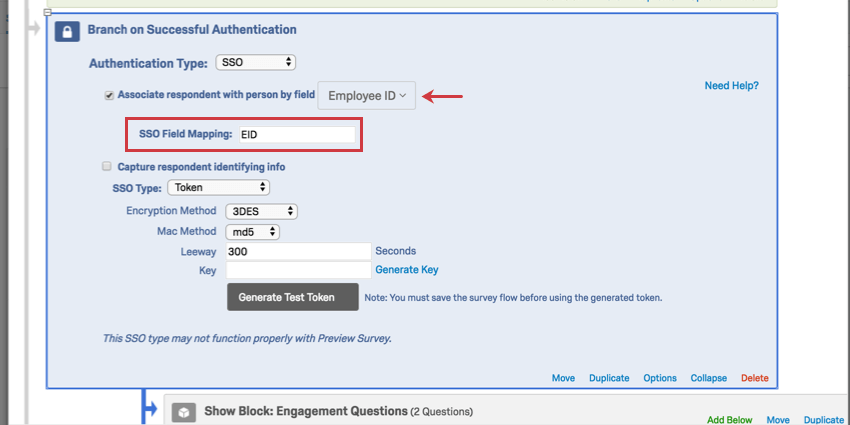 Arrow indicates the associate response with person by field is set to Employee ID, not email; as a result, an sso field mapping box appears below