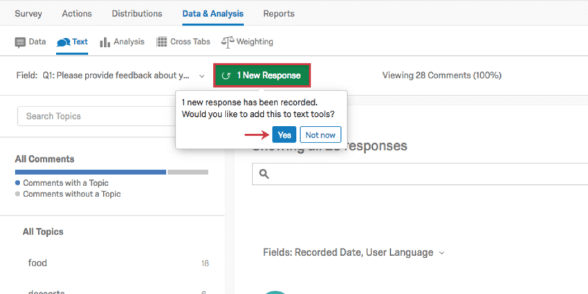 Green new responses button