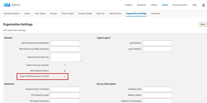 Organization settings tab of Admin page. Checkbox down the page that says Allow third party services in text iQ