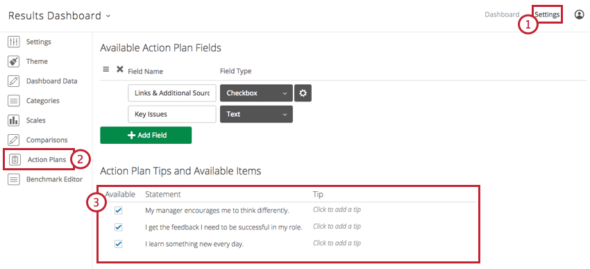 Action Plan Tips and Available Items section at the bottom of the Action Plans page