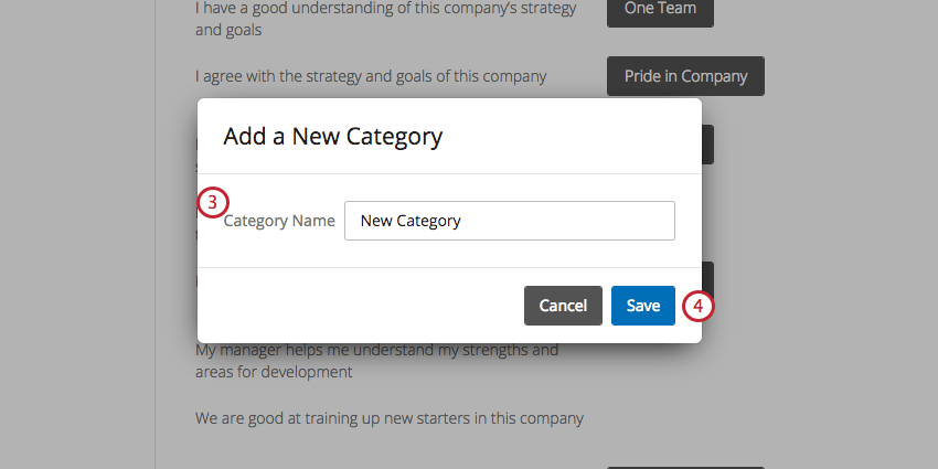 Add a New Category window where you add a name