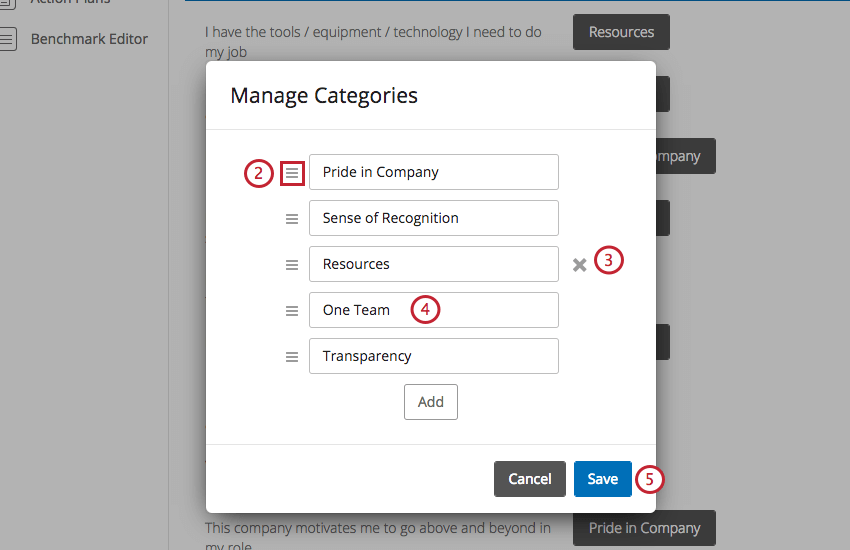 Window where categories can be reordered and removed