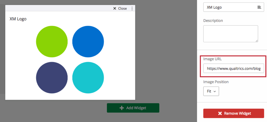 An image widget with the image editing pane open to show where the URL can be pasted